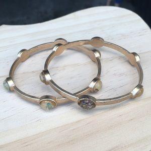 Vintage gold abalone bangle bracelets